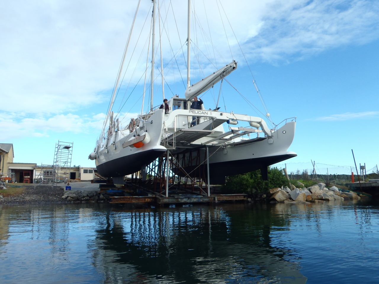 Pelican1 on the slip in Bermagui. Great way to look at her beautiful belly! She is now back in the water complete with brand new propellors.
