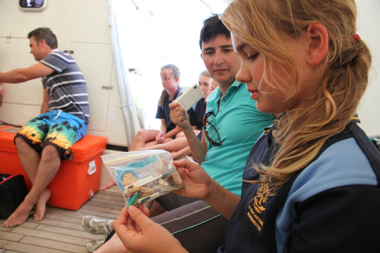 Learning about the problems of plastic debris for the marine world. On board Pelican1 for Two Bays 2013 #marineeducation #learningbydoing