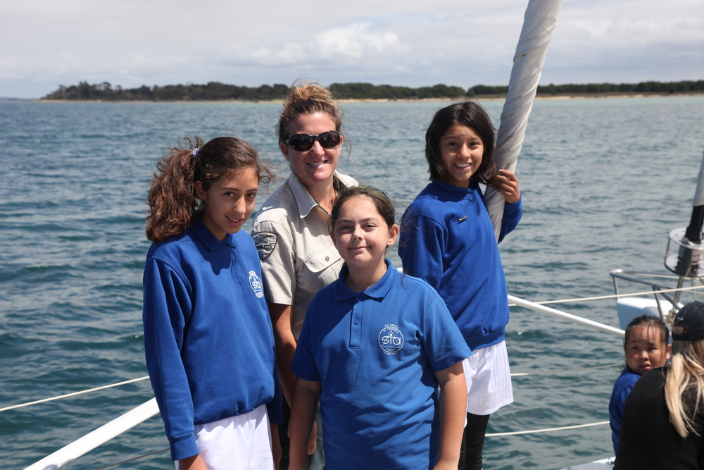 Jess from Parks Victoria with kids from St Teresa's Catholic Primary during Two Bays 2016