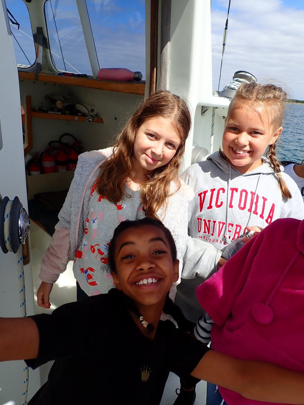 Primary school kids on board Pelican1 as part of their Ocean Literacy experience.