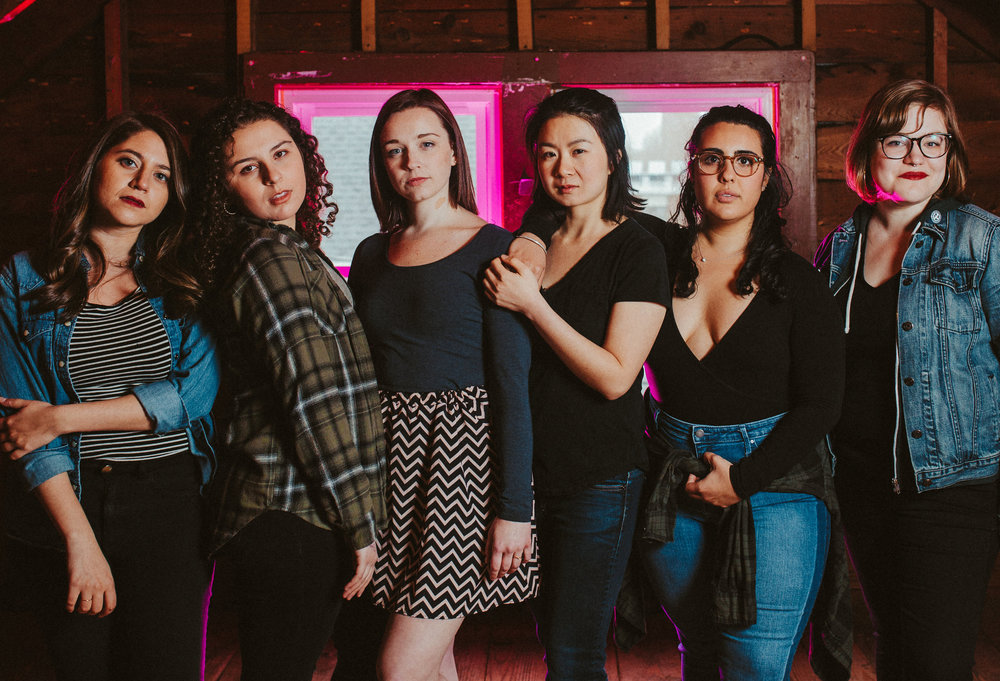 The team behind the workshop production of Our Dear Dead Drug Lord. (l-r) Alexis Scheer (playwright), Gina Fonseca (Pipe), Lisa Joyce (Zoom), Khloe Alice Lin (Squeeze), Tatiana Isabel Gil (Kit), Rebecca Bradshaw (director). Photo by Ally Schmaling.