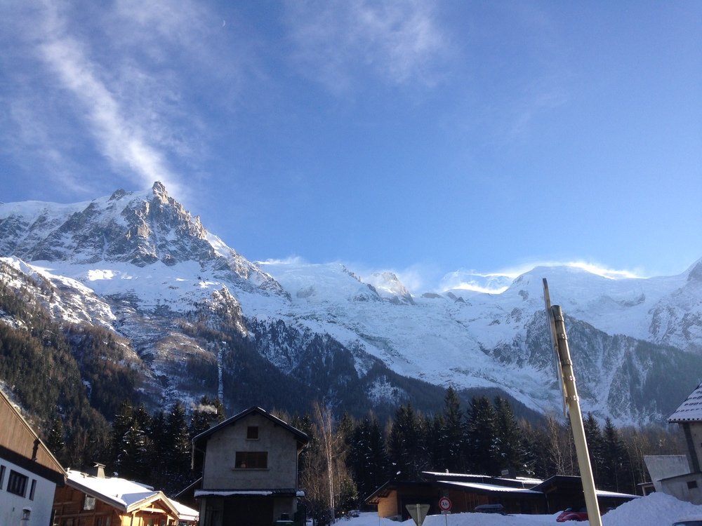The Aiguille Du Midi from outside out accommodation in Verbier.