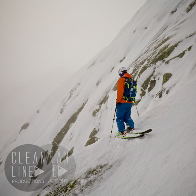 Riding the storm, filming with Lachlan in Flégère, Chamonix. Photo: Lachlan Humphreys