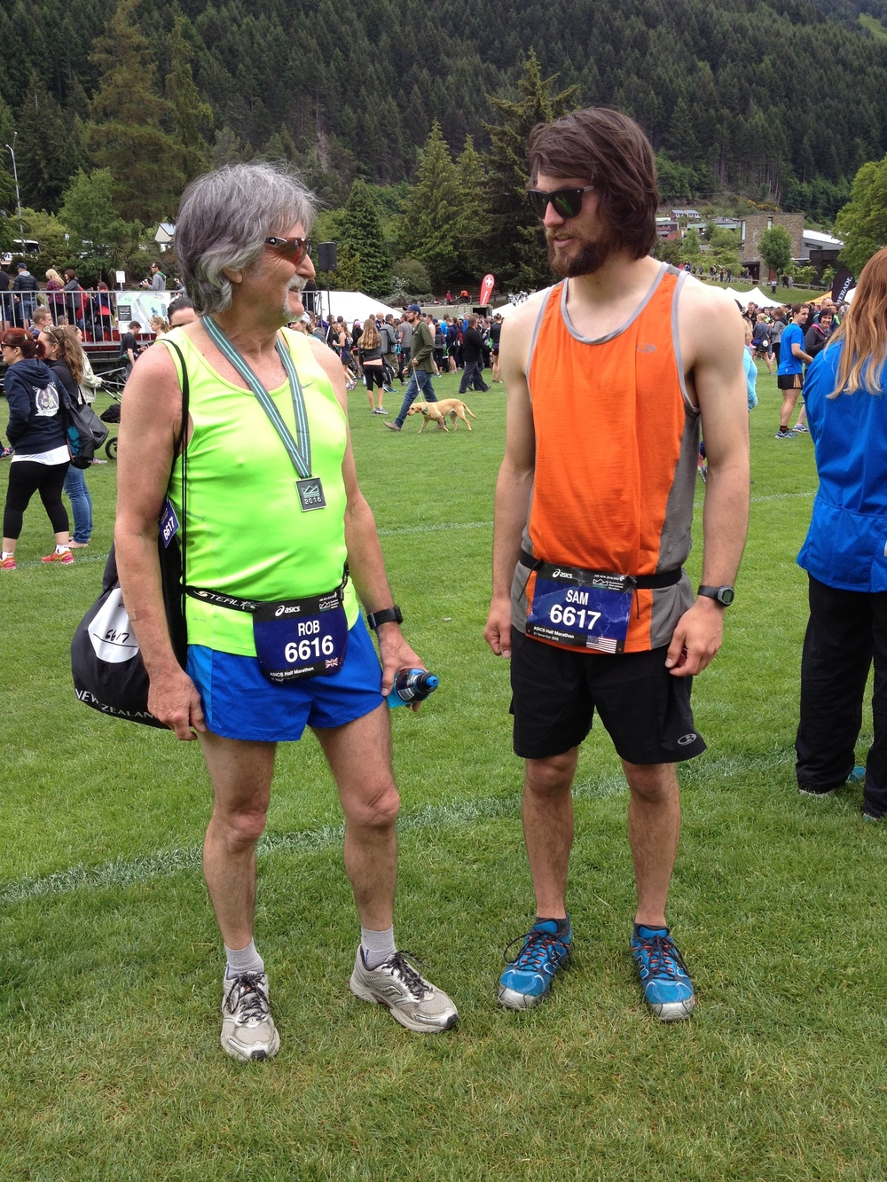 Dad and me at the end of the Queenstown Half Marathon