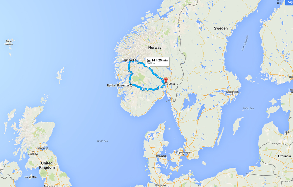 A map showing relative locations of Oslo, Sogndal and Roldal. This is not the actual route I took, I went by bus direct from Oslo to Sogndal and back. About a 7 hour trip.