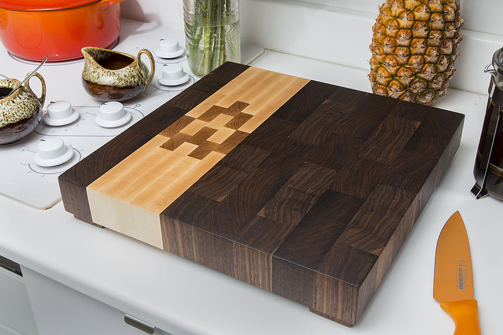 custom end grain butcher block handmade in portland oregon by kyle dauria maple walnut