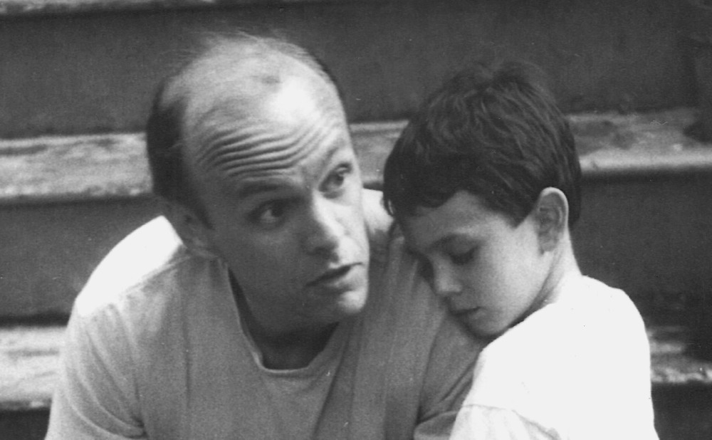 Author and son at home in 1989.