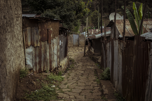 A typical neighborhood street in the Mount Entoto area of Addis Ababa. Despite being only a few degrees from the equator the climate here remains fairly temperate because of the extremely high elevation.