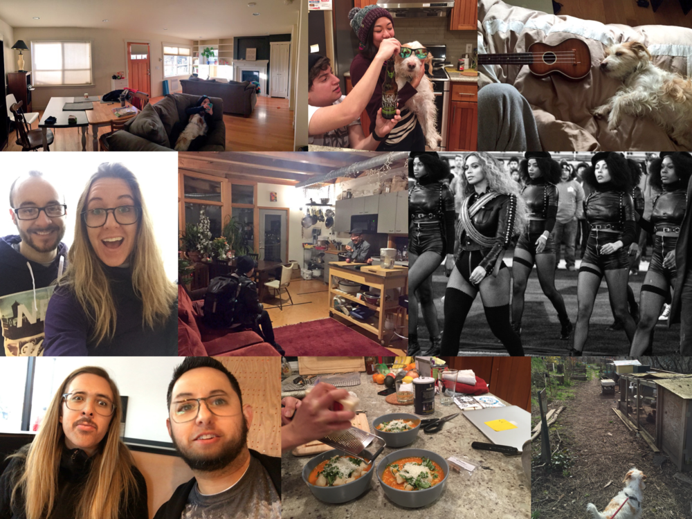 February: Lots of Elko pup bonding; Eunice's superb cooking; Nick Brandon came for a visit; Beyonce was at the Superbowl; Paul and I face swapped to create Nicolas Cage.