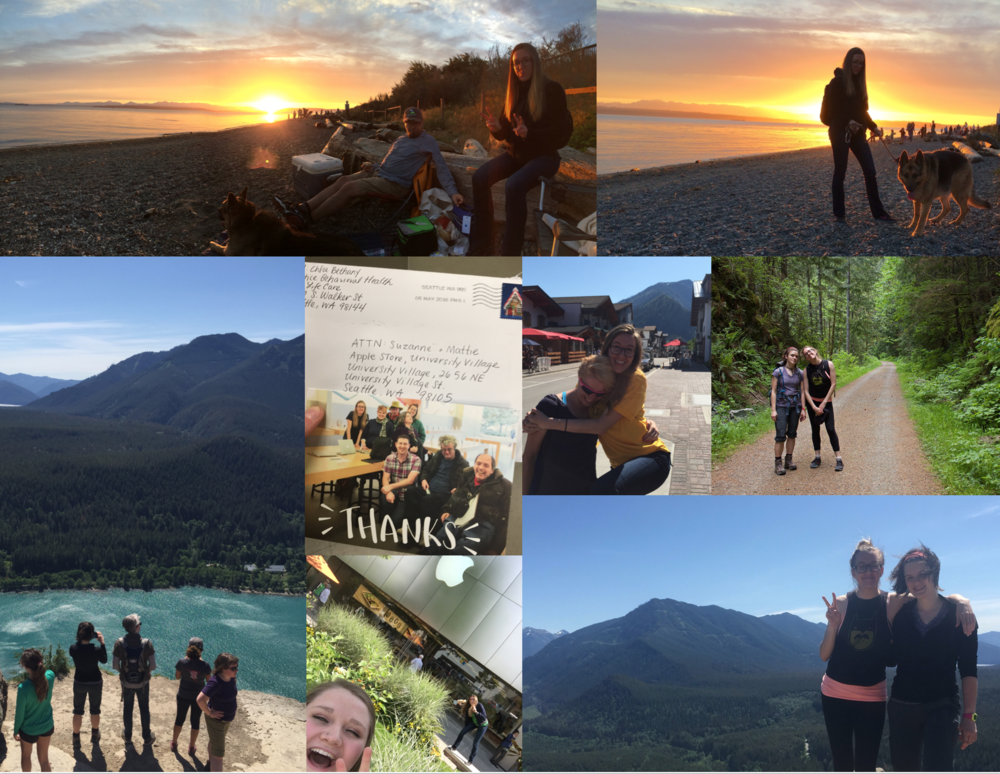 May: More beach visits with Justin and Aaron; surprising Morgan in Leavenworth after her bike race; hiking Rattlesnake Ledge with Max, Mary and Aaron; photo bombing visiting employee's selfies; getting thank you notes from workshop attendees.