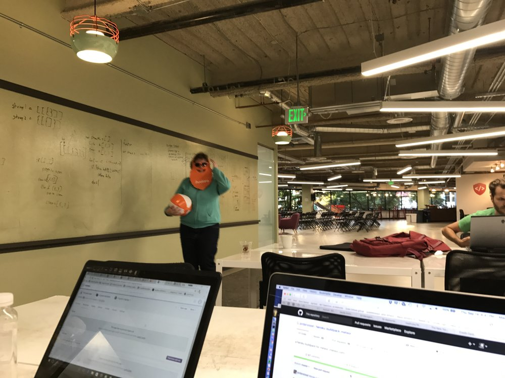 "Thursday: We didn't get to do the Avalara Bug Bash, we had too much work to complete. But Michelle took a break and grabbed some Avalara swag after everyone had left. Proud of you, Gavin, for winning ""best bug found!"""