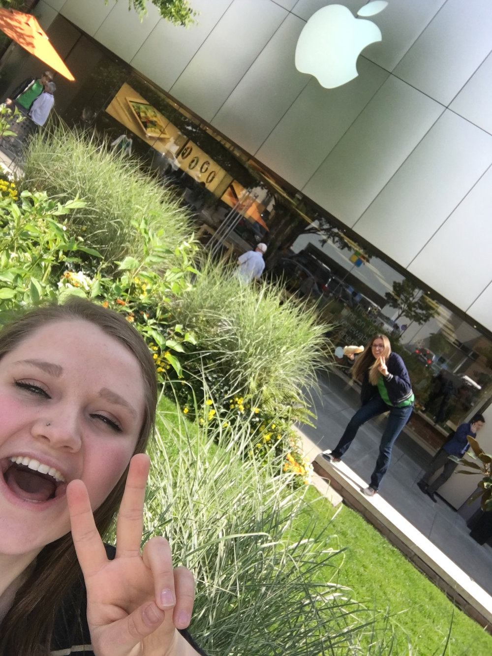 - Photobombing a visiting coworker's selfie (from the Spokane store).