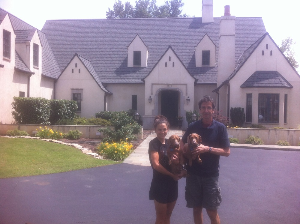 Peter and I and the dogs. To the left of the photo was our 'wing' of the house. Beautiful place!
