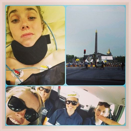 Top: Jenelle recovering in hospital. Bottom: Driving to the race