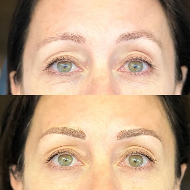 Subtle lift of the right hand brow make these two distant relatives more like sisters.  We ♥️ working with what nature gave you - enhancing the natural, not changing it = a more believable brow.  #browsaresistersnottwins #microblading #eyebrows #aucklandbrowspecialist #phibrows #phibrowsartist #eyebrowfeathering #featheredbrows #eyebrowtattoo #lessismore