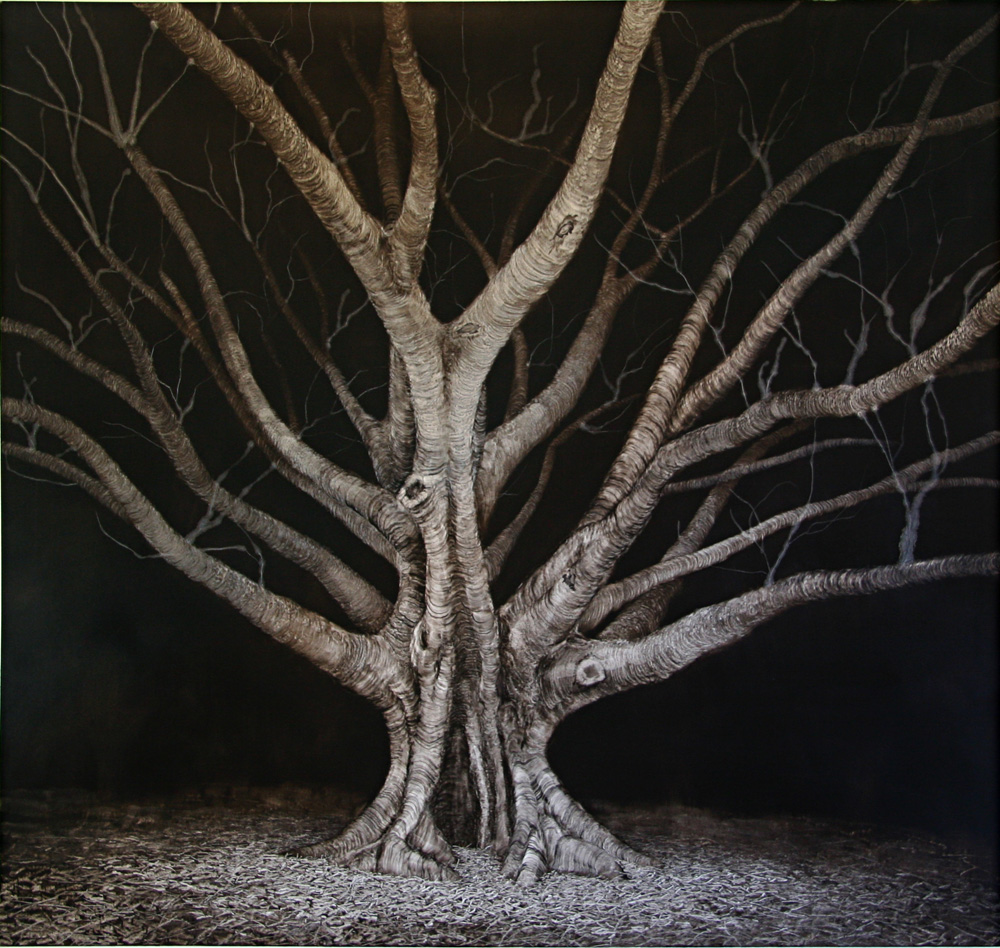 Wounded Night Fig, 2006. Oil on Paper. 97cm x 97cm.