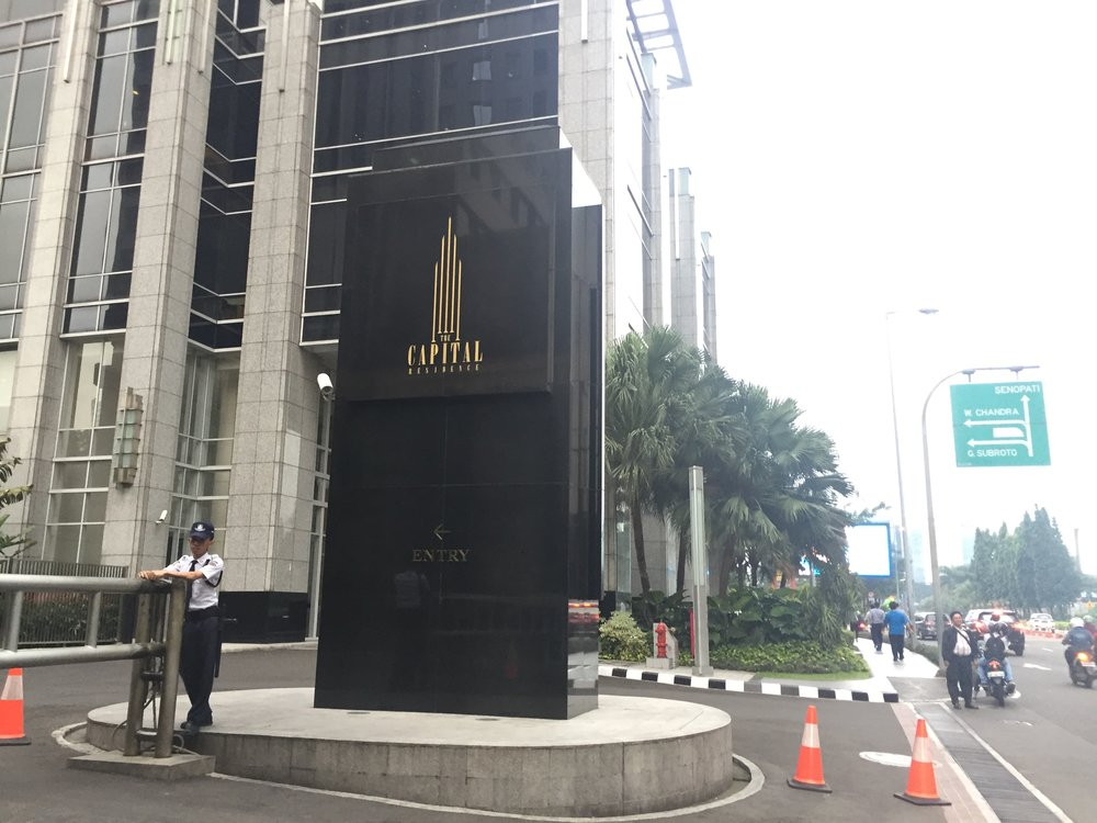 Entrance to the Capital Residence building from Jalan Jenderal Sudirman. Proceed to the Office Tower Lobby.