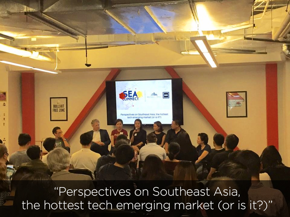 SEA Connect July 26, 2016 @ 500 Startups  with Pieter Kemps (Sequoia), Andreas C. Cangellaris (Illinois University at Urbana-Champaign), Danielle Garcia (YesCredit Philippines), Aihui Ong (Love with Food), Steve Hsia (Young Outliers, Inc), Huong Tran (Magpie Travel, StartX) and Jennifer Xu (SFAsia)