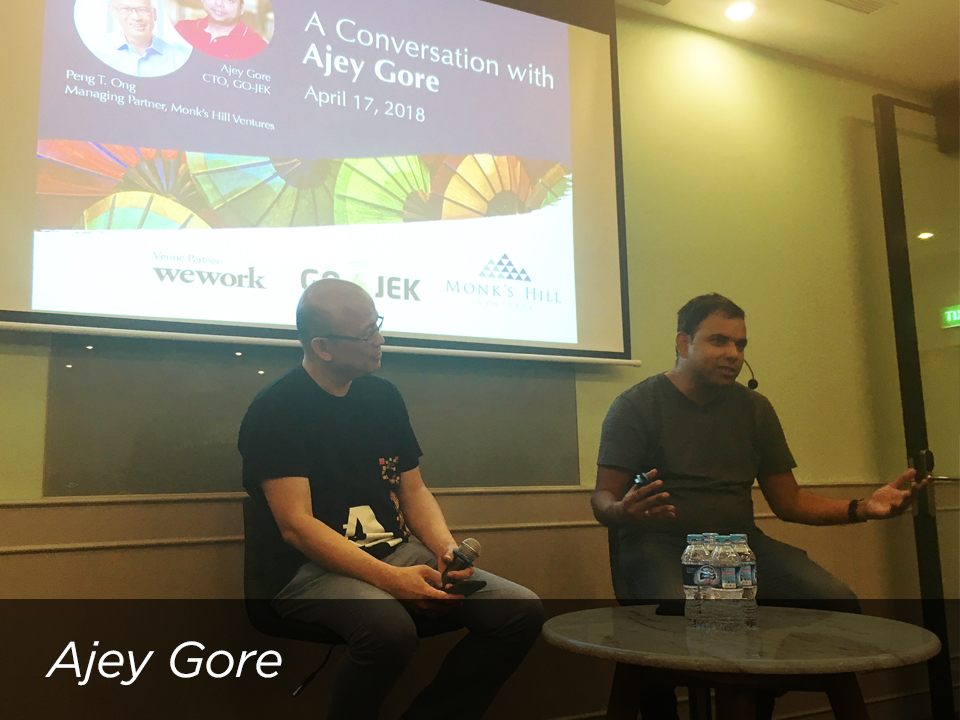 Ajey Gore, CTO of  GO-JEK , shared his experiences, personal journey and insights about his career and life purpose.