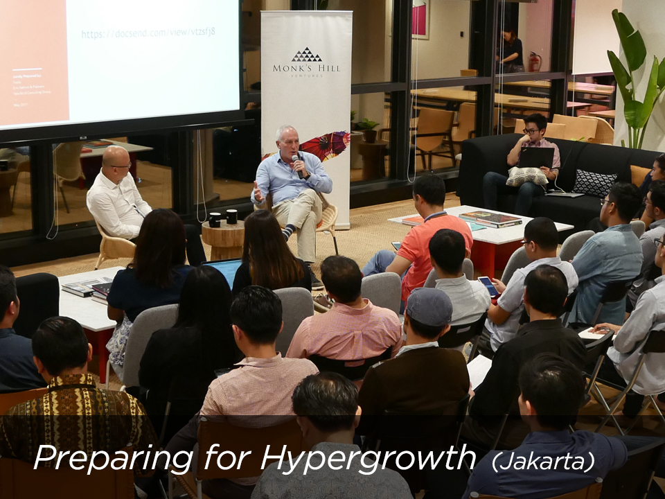 Startup Workshop: Preparing for Hypergrowth  in Jakarta with Rob Bier discussing 9 dilemmas every founder should wrestle with. .