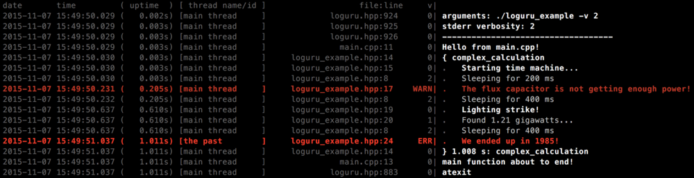 Loguru terminal output. Again, the logfile looks the same but without the colors.