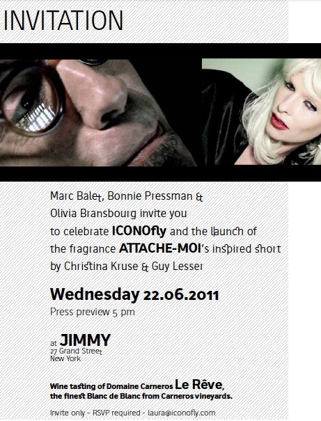 Invitation for the projection of ATTACHE-MOI at Jimmy Soho