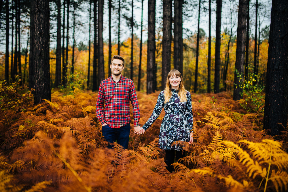 Autumnal forest pre-wedding shoot in Nottinghamshire - Hannah + Adam