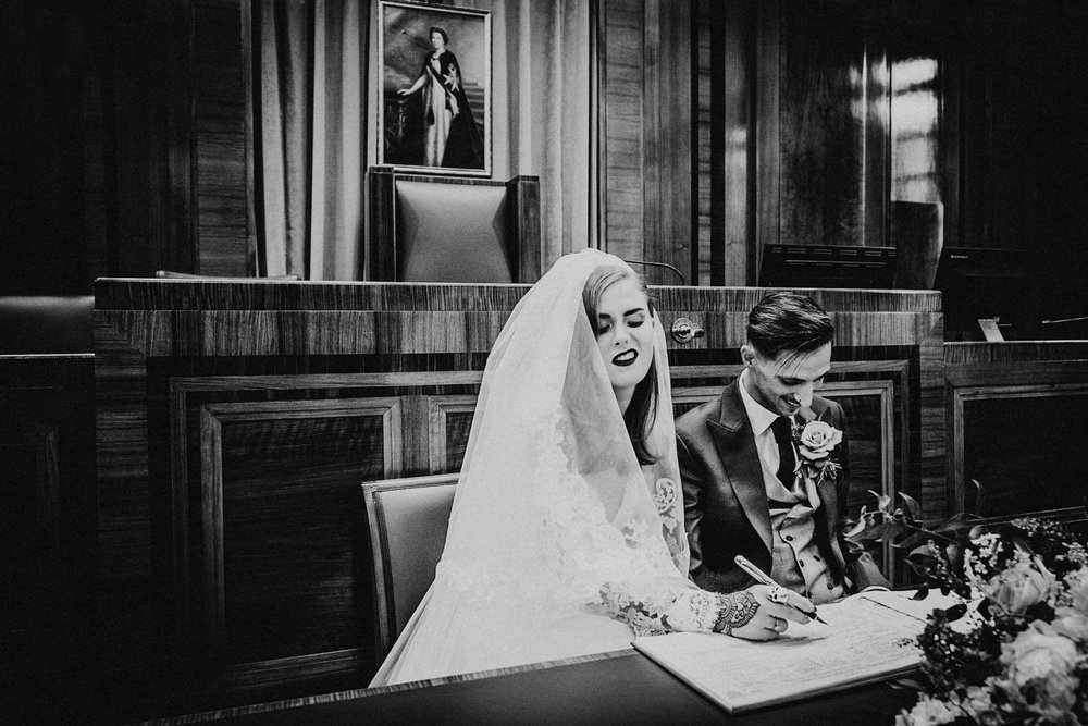 Hackney Town Hall London wedding photographer - Hev and Ale