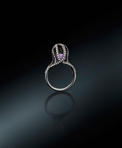 Octopus Ring || 18ct White Gold, Amethyst and Diamonds.
