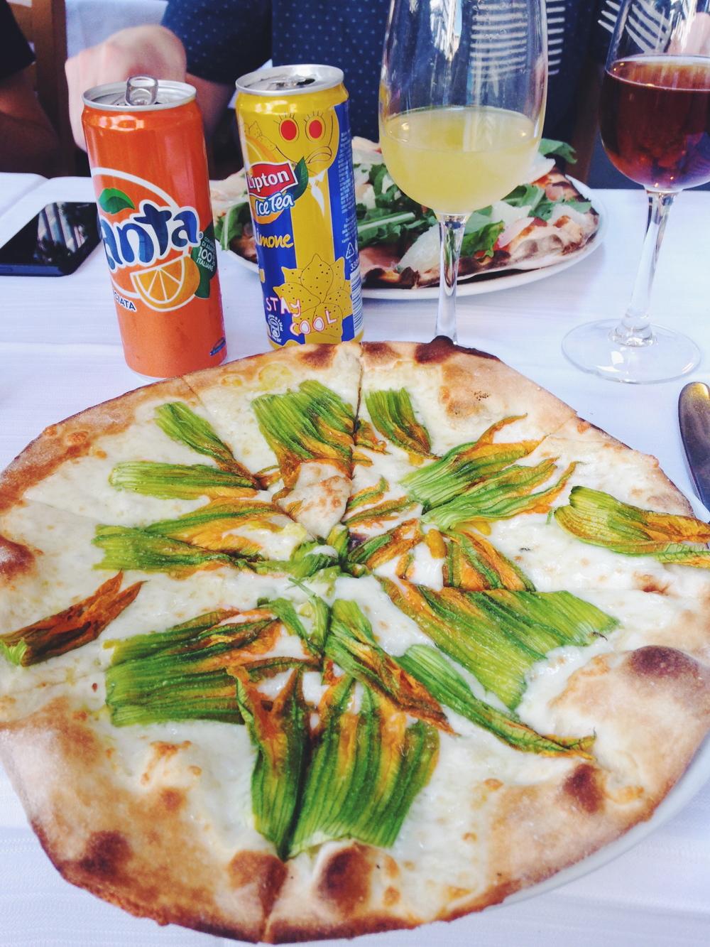 Zucchini flower pizza in Rome