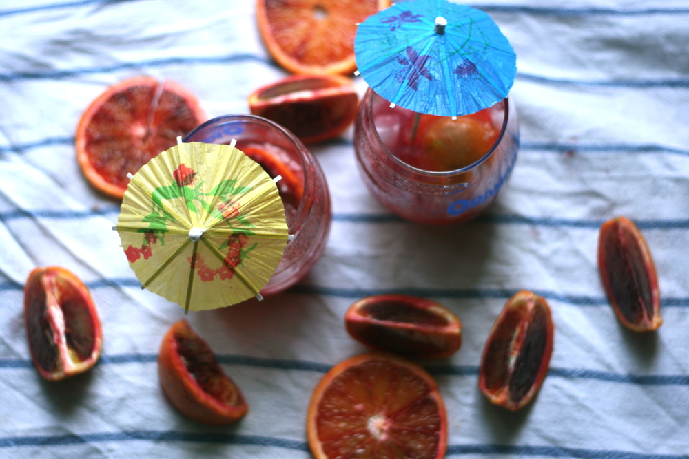 Blood orange caipirinhas