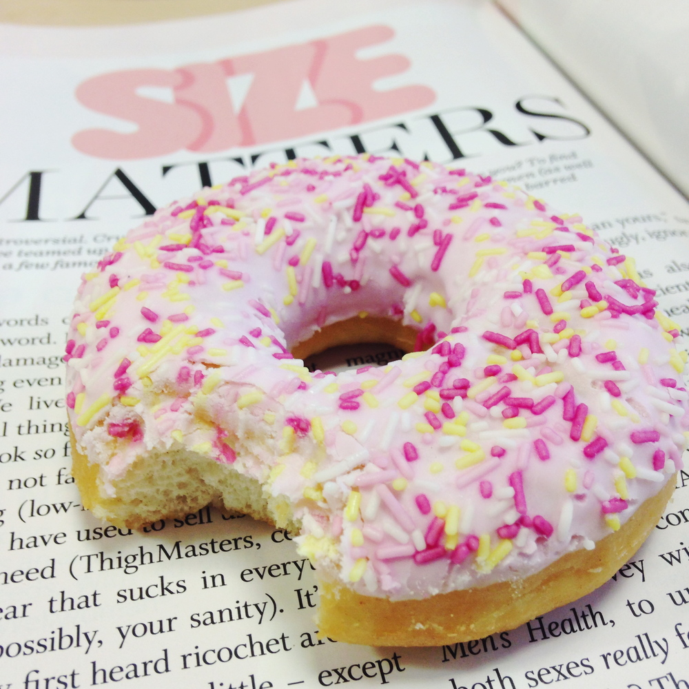 Pink doughnut with sprinkles