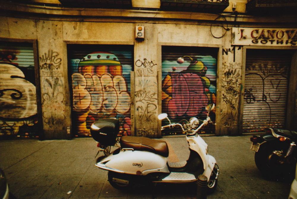 Motorbike and graffiti in Madrid