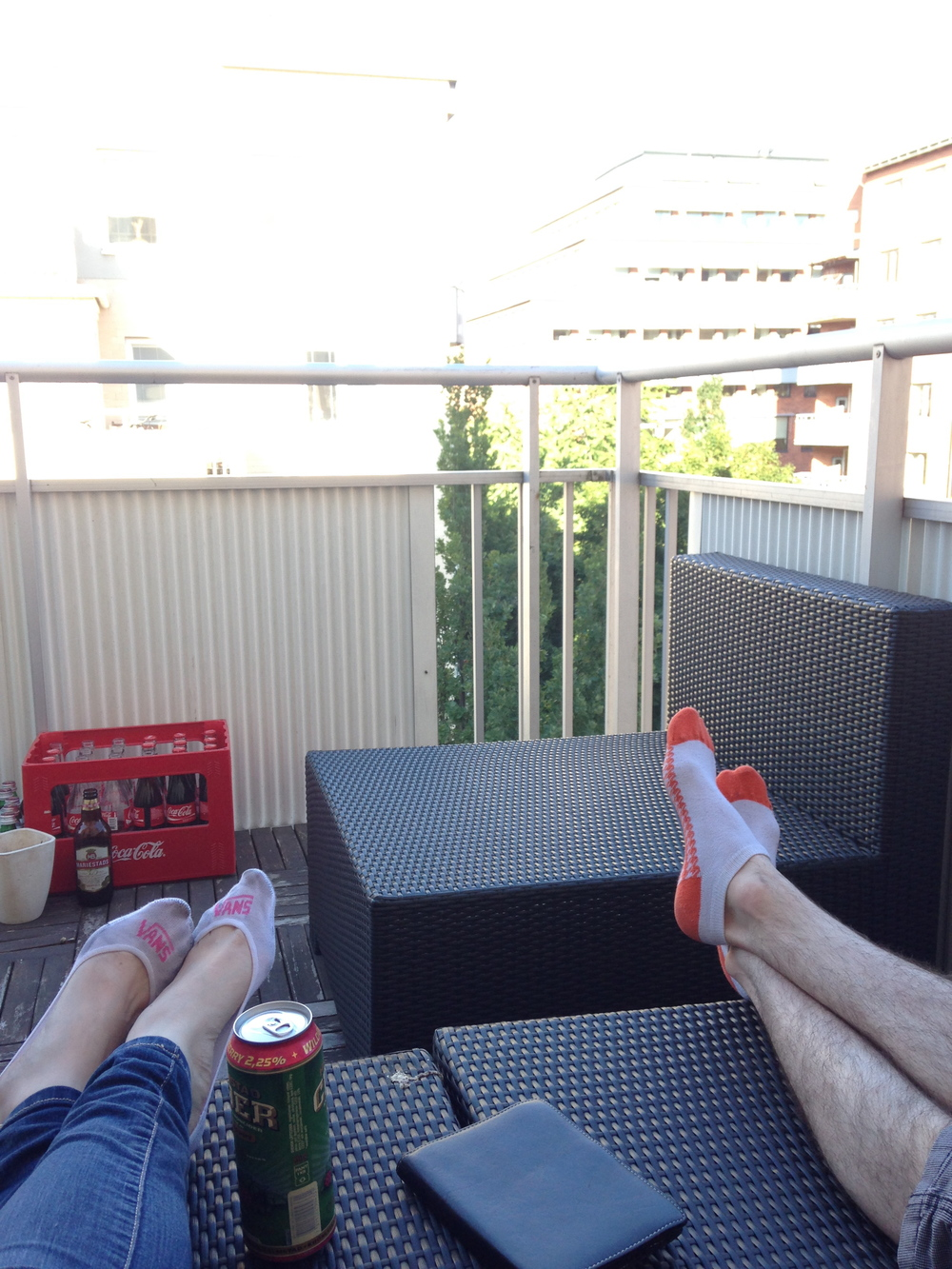 Marcus' balcony was the perfect place to chill out with a can of Swedish cider