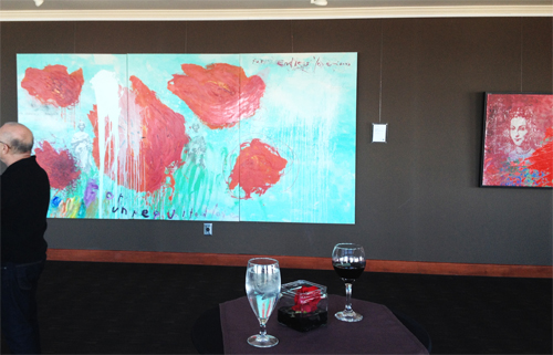 """Unrequited Love"", pictured above, is a 6'x12' original painting."