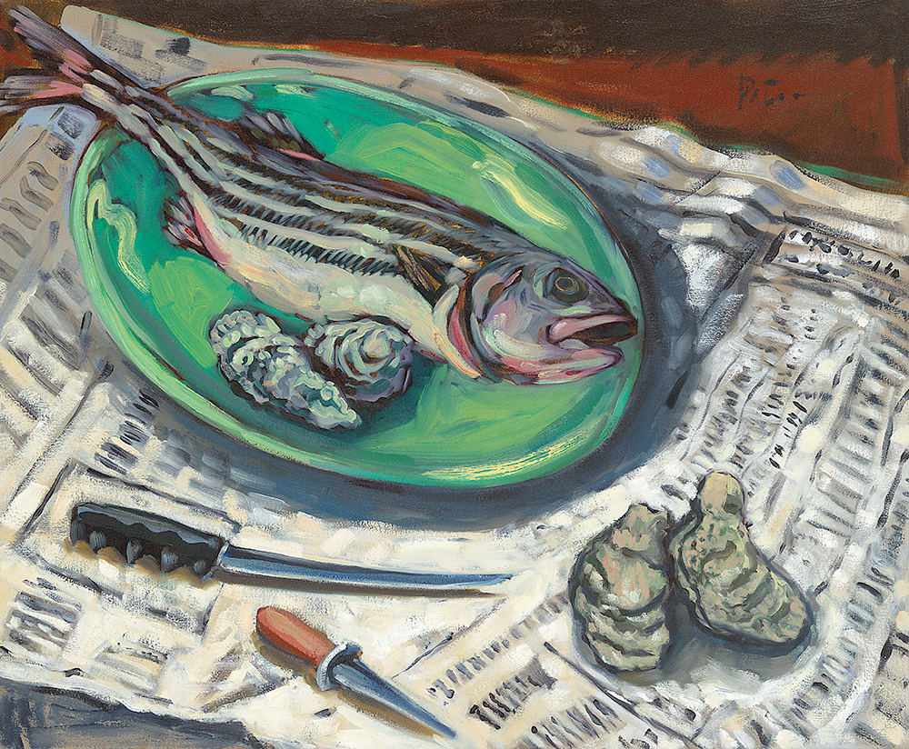 Rock Bass & Oysters  oil on canvas 28 x 32