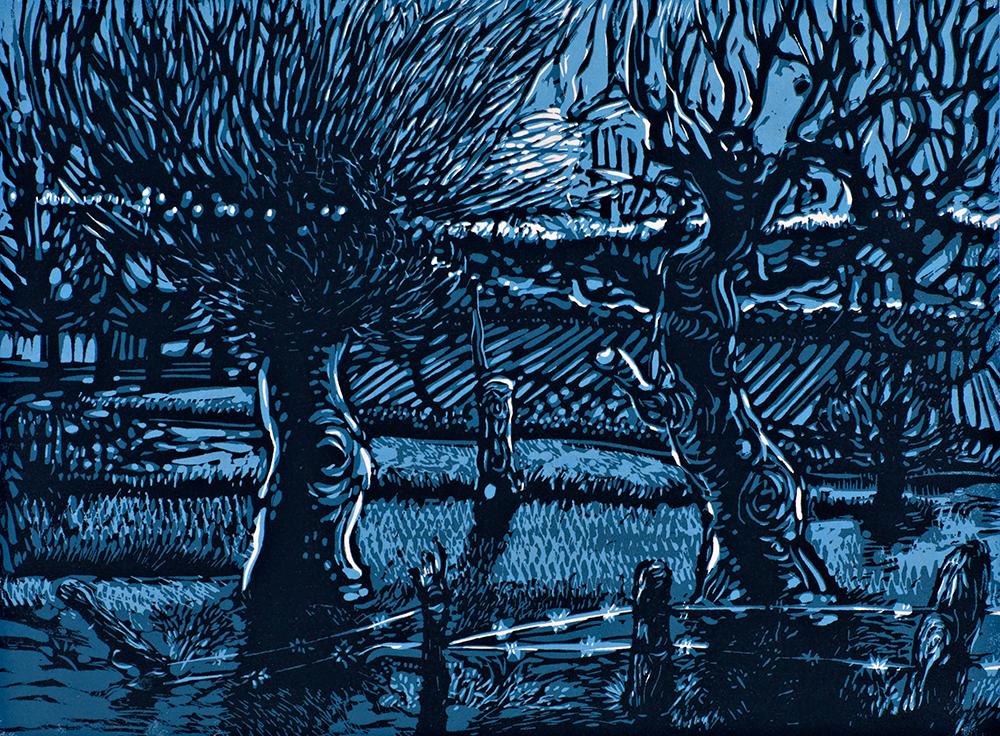 Hunter's Moon linocut 12 x 16