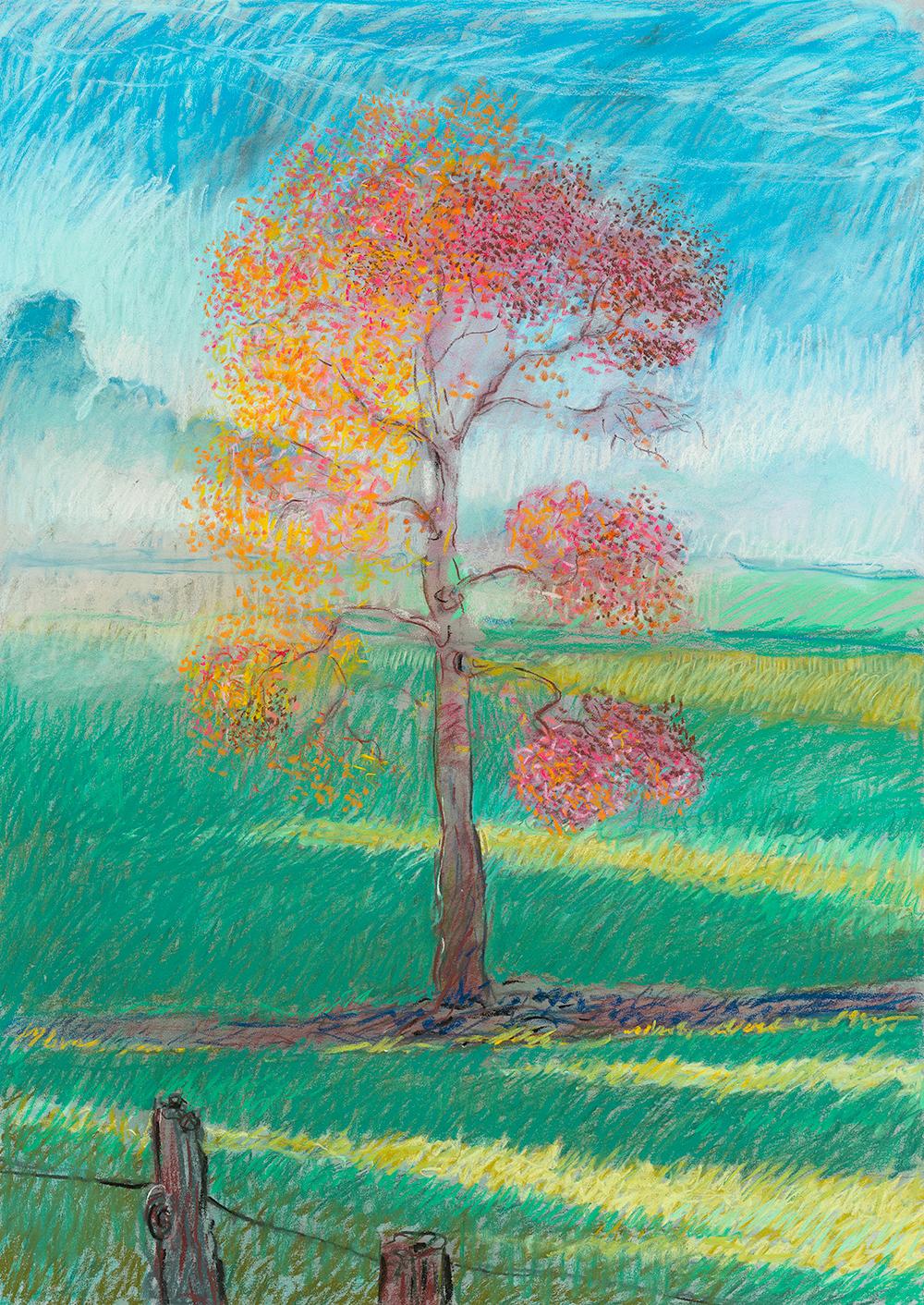 Pink Tree  pastel 22 x 32