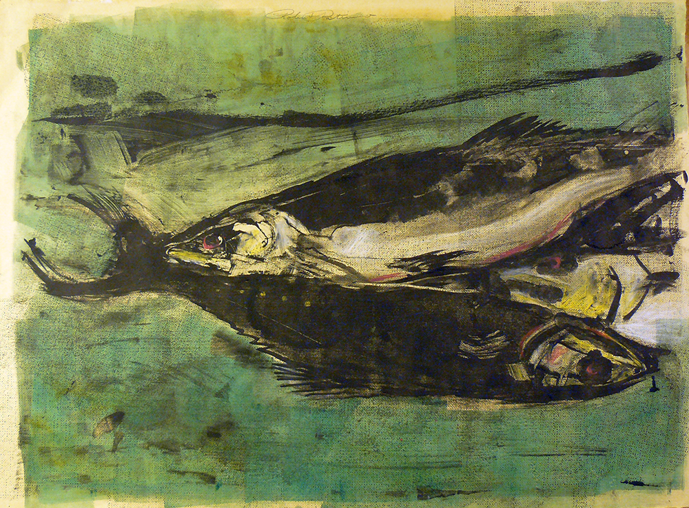 Still Life Fish  monotype 22 x 30