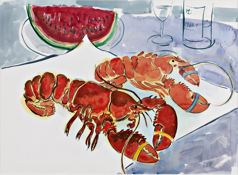 Lobster & Melon  watercolor 22 x 30