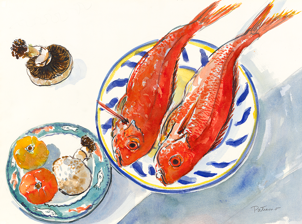 Red Snappers with Mushrooms watercolor 22 x 30