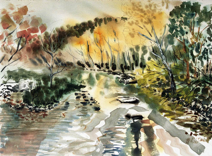 Autumn Creek   watercolor 22 x 30