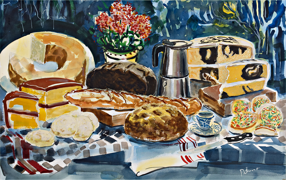 Bread & Cakes  watercolor 30 x 40