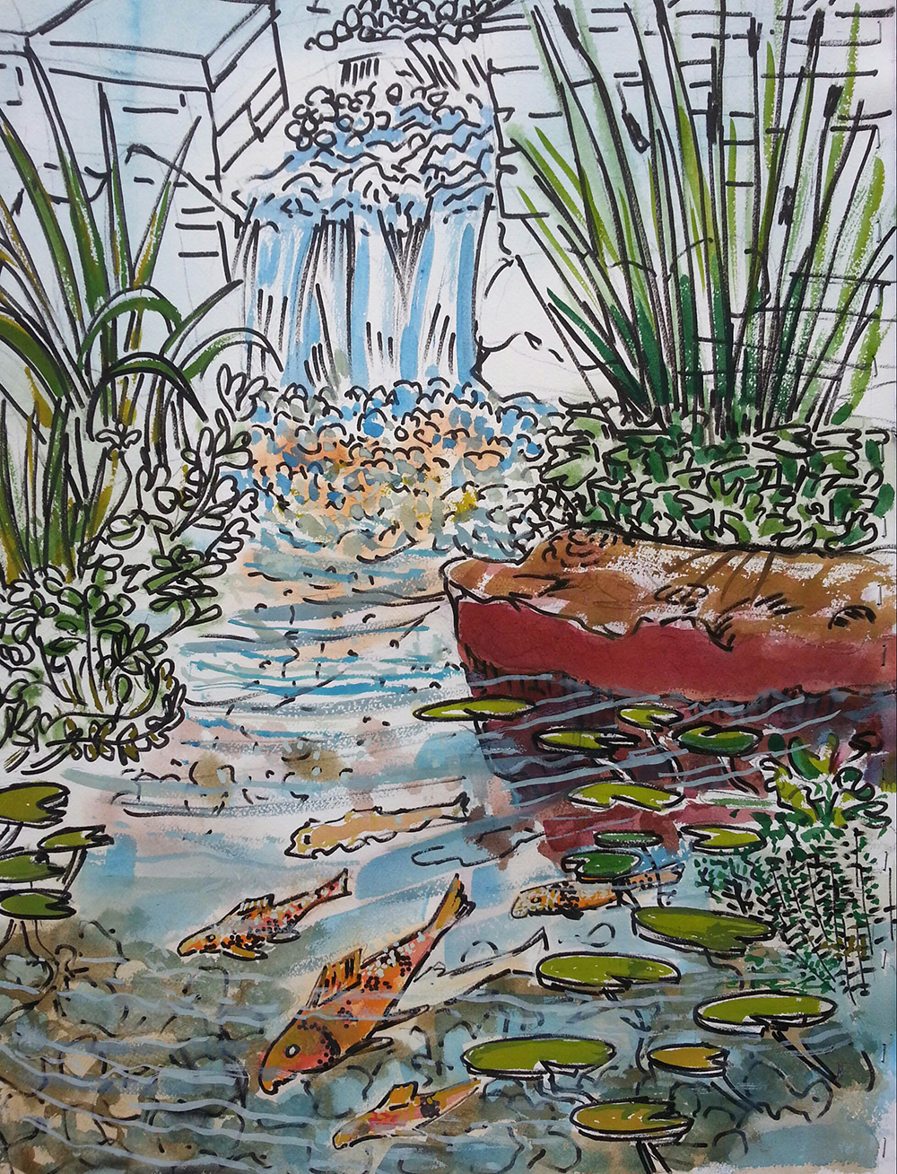 Fishpond watercolor 30 x 22