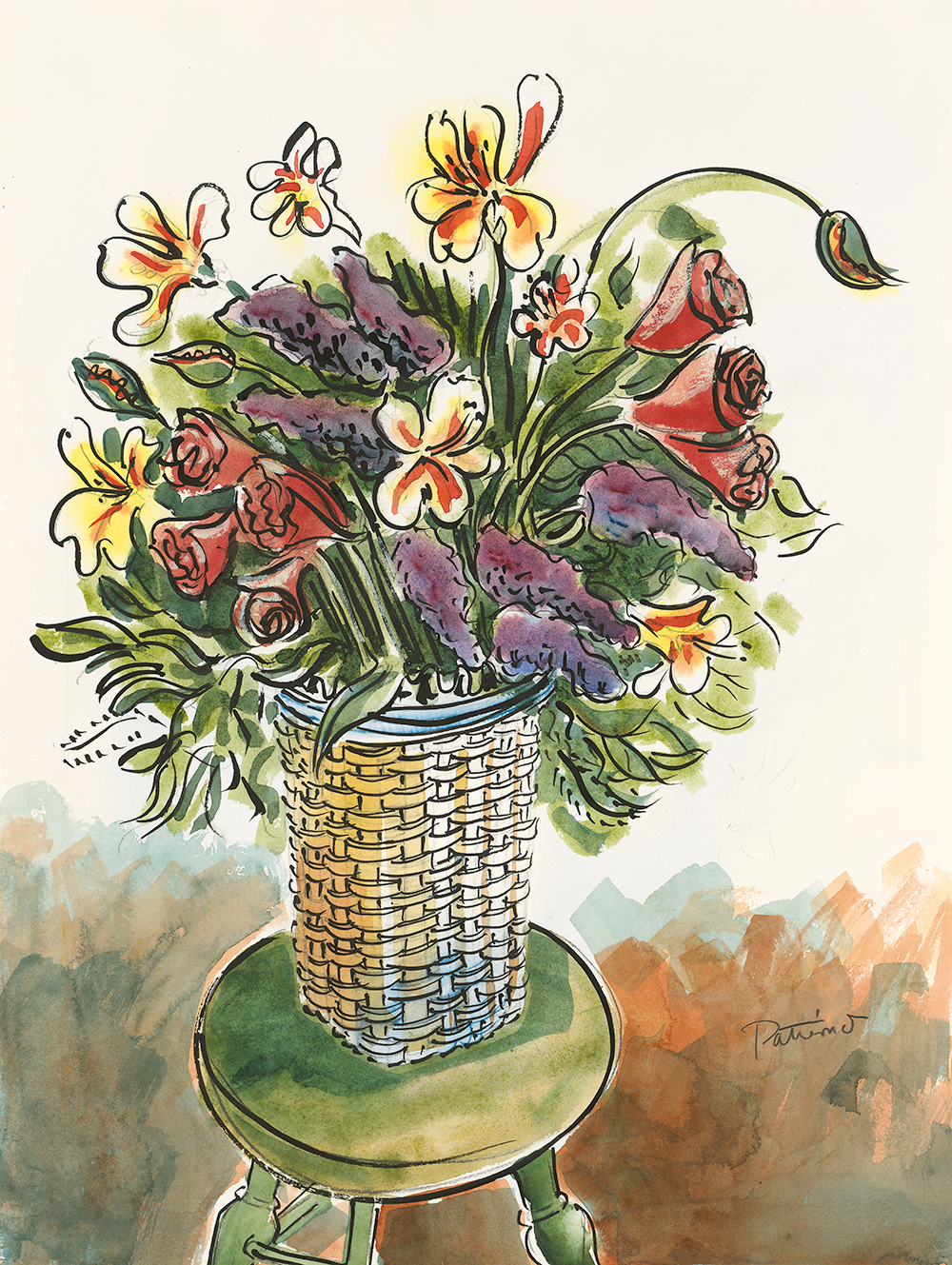 Flower Basket watercolor 30 x 22