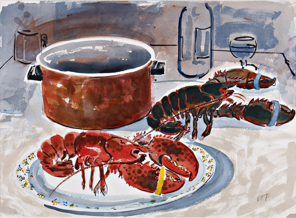 Red & Black Lobster  watercolor 22 x 30