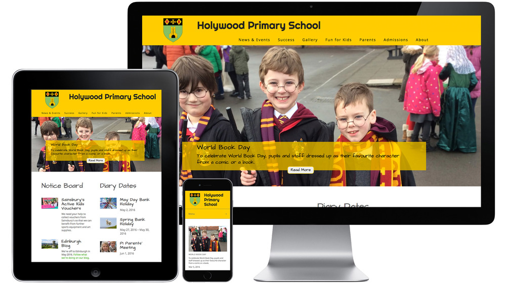 Holywood Primary School website on different devices