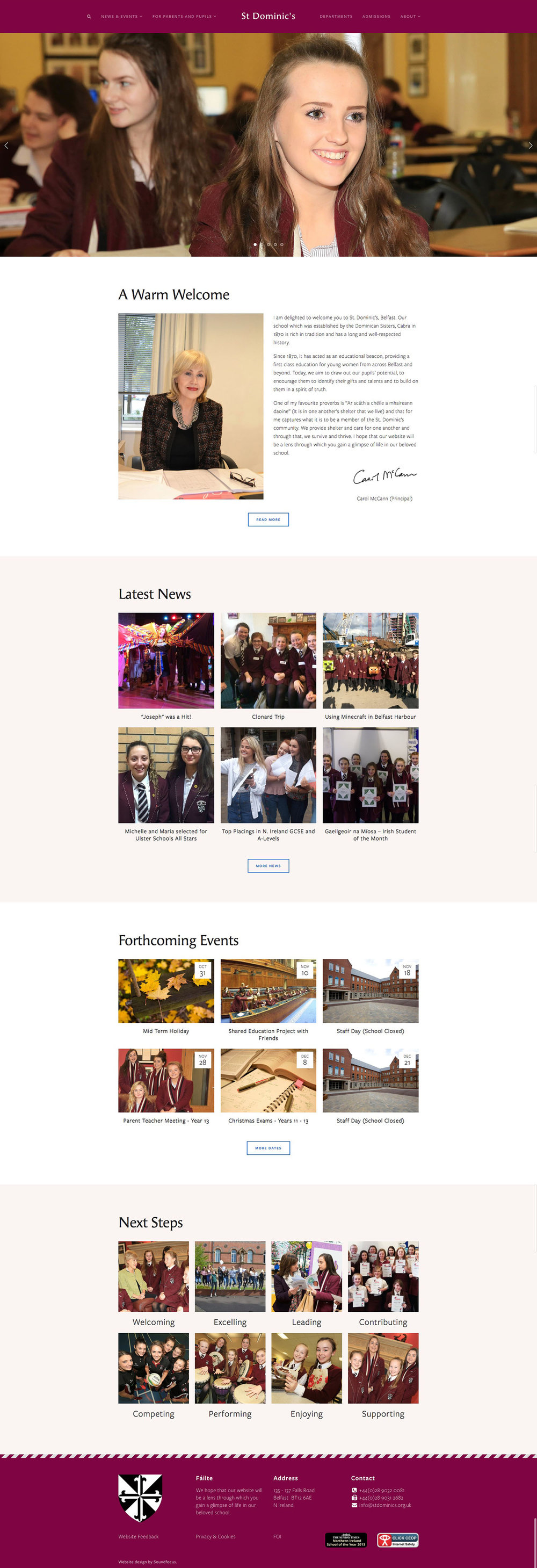 Screenshot of St Dominic's Grammar School Home Page