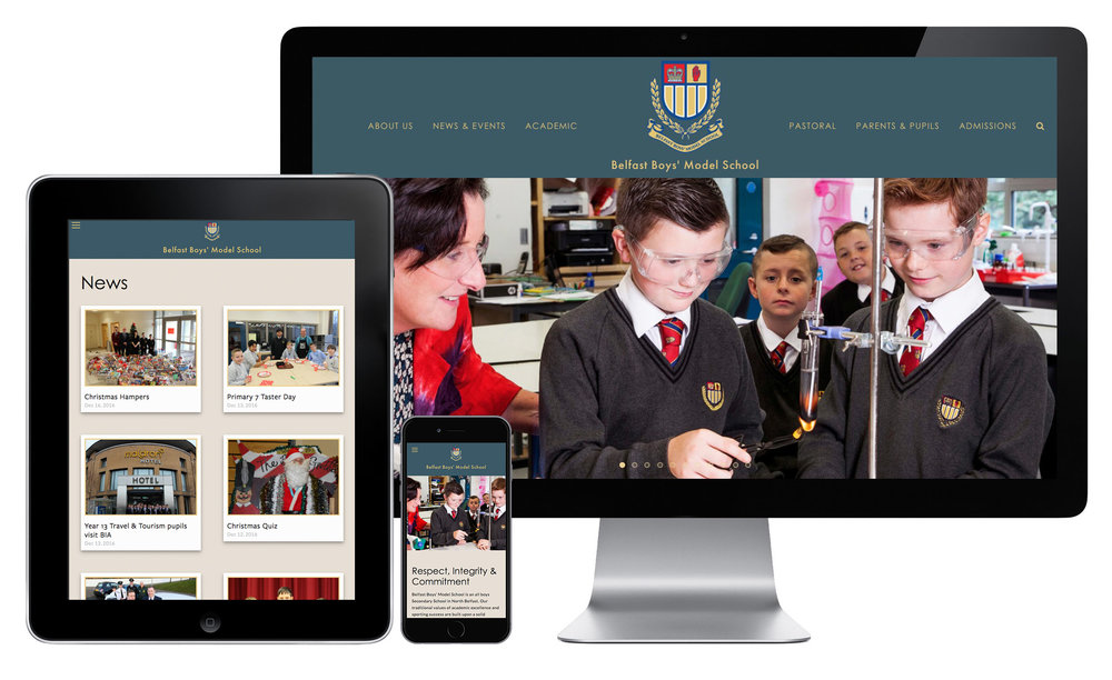 Belfast Boys' Model School Responsive Website on Mobile, Tablet and Desktop