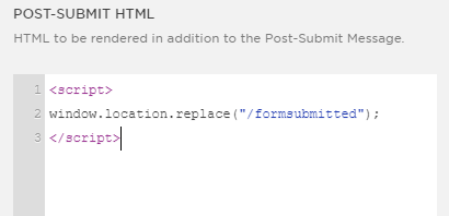 Post Submit HTML box showing the code
